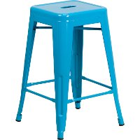 Backless Crystal Blue Metal Square Seat 24 Inch Counter Stool