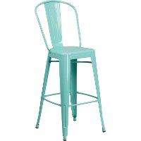 Mint Green Metal 30 Inch Bistro Bar Stool