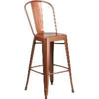 Copper Metal 30 Inch Bistro Bar Stool