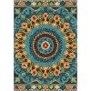 8 x 11 Large Blue, Green & Yellow Area Rug - Veranda