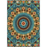 8 x 11 Large Blue and Green Indoor-Outdoor Area Rug - Veranda
