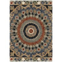 5 x 8 Medium Blue, Red, and Green Area Rug - Wild Weave