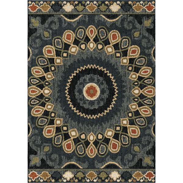 5 X 8 Medium Blue Red And Green Area Rug Wild Weave