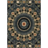 8 x 11 Large Indochina Blue, Red, and Green Area Rug - Wild Weave