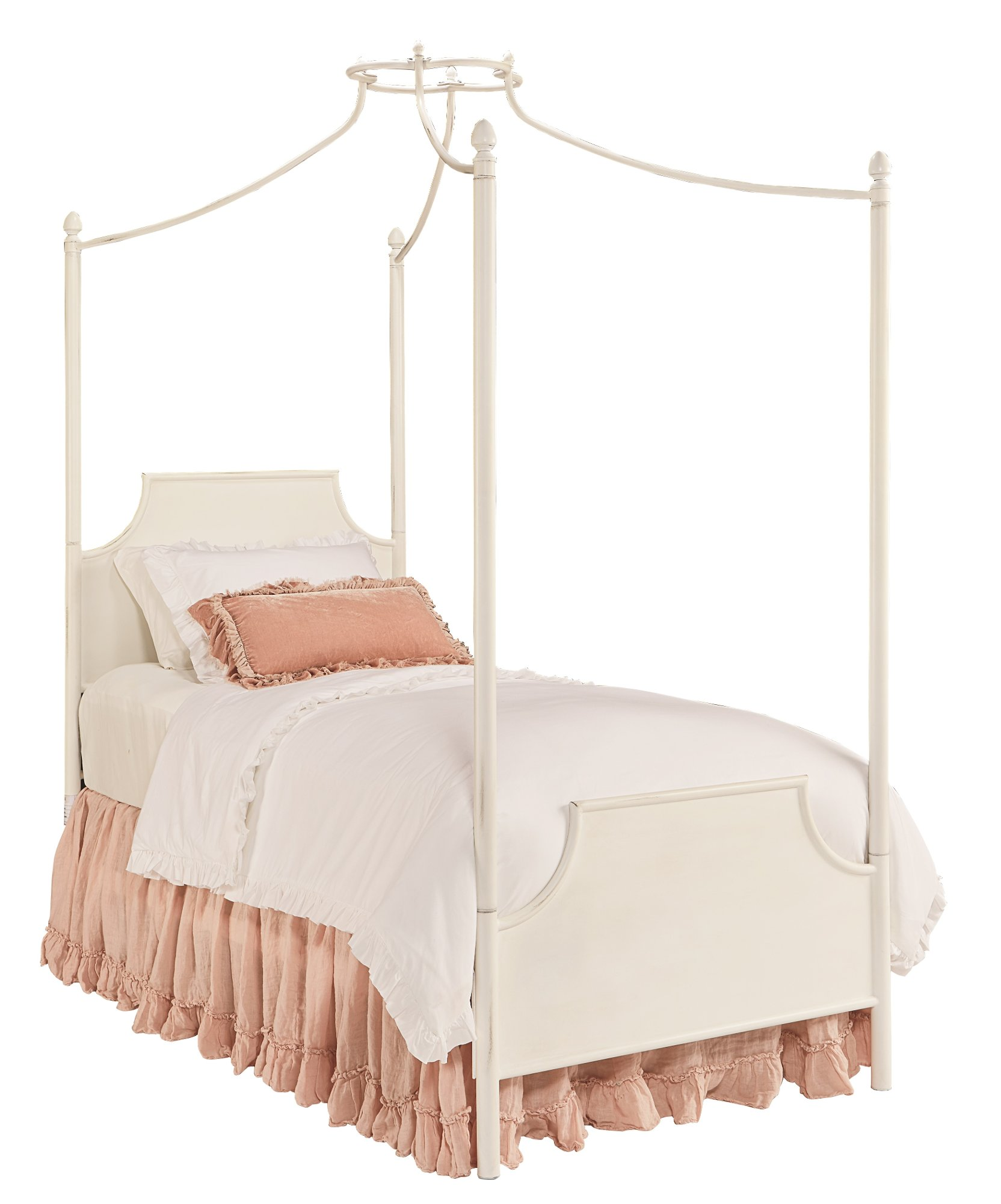 Magnolia Home Furniture White Twin 6 Piece Canopy Bedroom