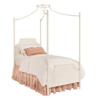 Magnolia Home Furniture White Iron Twin Canopy Bed - Traditional Manor