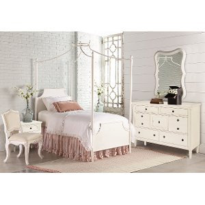 magnolia home furniture white twin 6 piece canopy bedroom set traditional manor