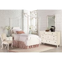 White Twin 6 Piece Canopy Bedroom Set - Traditional Manor