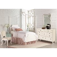 Magnolia Home Furniture White & French Blue Twin 6 Piece Canopy Bedroom Set - Traditional Manor