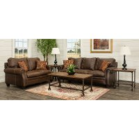 Classic Traditional Brown 7 Piece Living Room Set - Shiloh