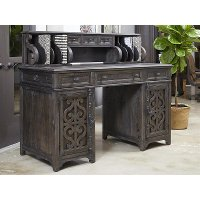 Deep Weathered Pine Counter Height Desk - Bellamy