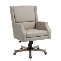 Beige Linen Office Chair
