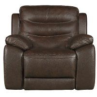 Brown Leather-Match Power Glider Recliner - Shawn