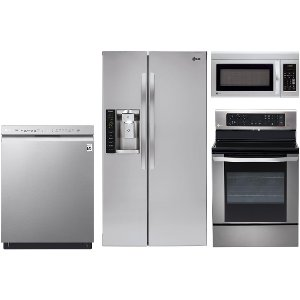 kit lg stainless steel 4 piece electric kitchen appliance package