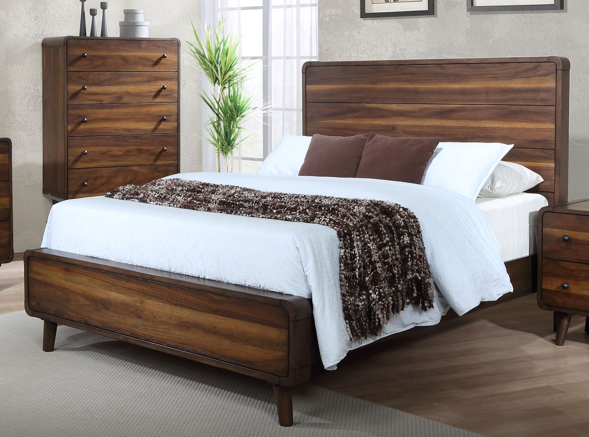 Walnut brown mid century modern 6 piece queen bedroom set for Modern queen bedroom sets