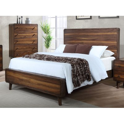 MidCentury Modern Walnut Brown Queen Size Bed Yasmin RC