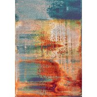 8 x 11 Large Rust, Gray, and Blue Rug - Illusions