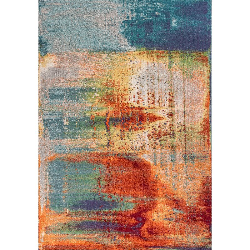 8 X 11 Large Rust Gray And Blue Rug Illusions