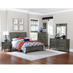 twin bedroom furniture.  Casual Classic Gray 6 Piece Twin Bedroom Set Garcia bed with storage RC Willey Furniture Store