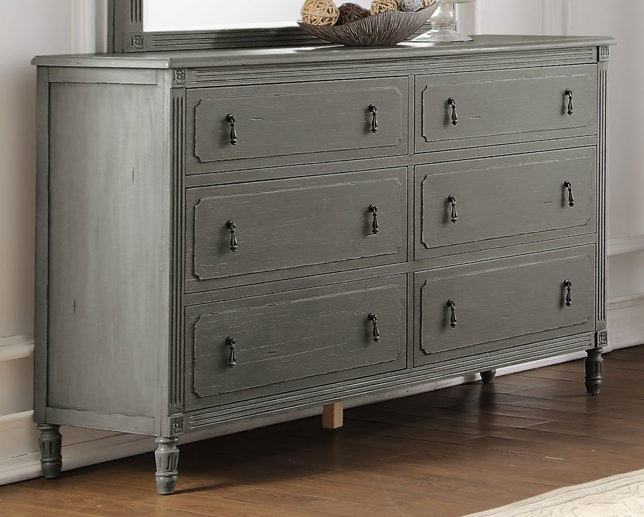 Classic antique gray 6 piece queen bedroom set aviana rc willey furniture store for Antique grey bedroom furniture