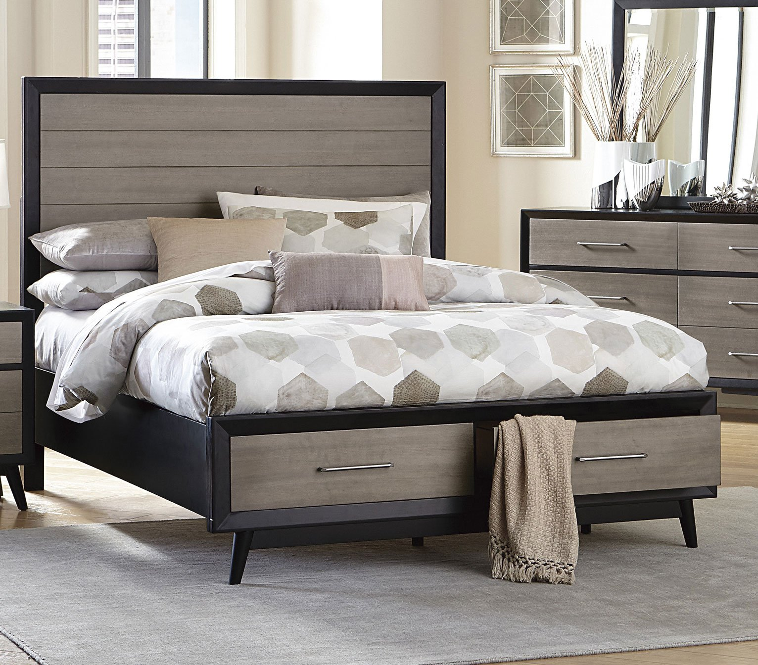 Contemporary gray black 6 piece king bedroom set raku - Contemporary king bedroom furniture ...