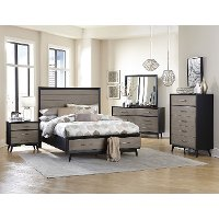 Contemporary Gray and Black 4 Piece Queen Bedroom Set - Raku