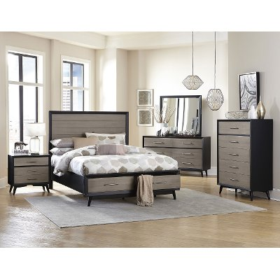 Contemporary Gray and Black 6 Piece Queen Bedroom Set - Raku | RC ...