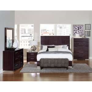 ... Clearance Modern Plum Brown 6 Piece Queen Bedroom Set   Moritz