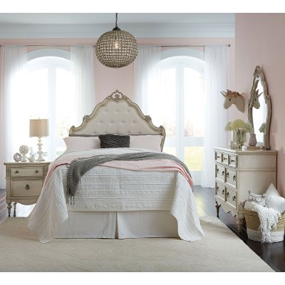 antique white traditional 6 piece full bedroom set giselle