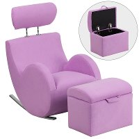 Lavendar Fabric Kids Lounge Rocker and Storage Ottoman