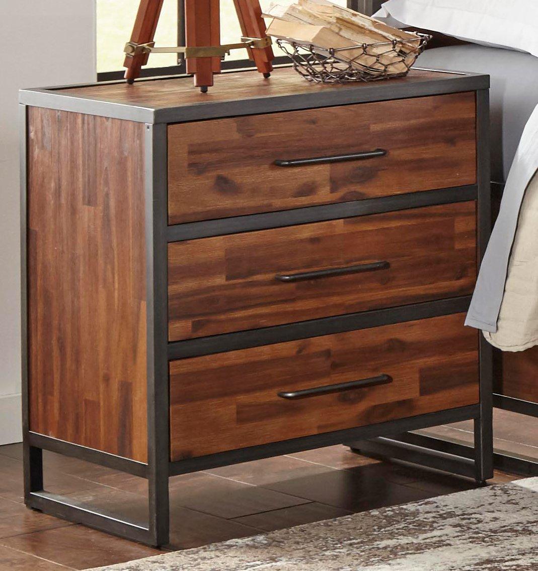 Warm brown metal modern rustic 6 piece queen bedroom set for Metal night stands bedroom