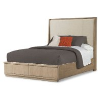 Clearance Driftwood Gray Upholstered King Storage Bed - Melbourne