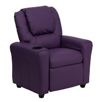 Purple Vinyl Kids Recliner with Cup Holder