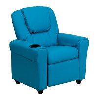 Turquoise Vinyl Kids Recliner with Cup Holder