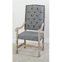 Barn Wash and Gray Upholstered Dining Arm Chair - Willow Creek Collection