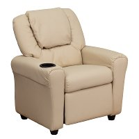 Beige Vinyl Kids Recliner with Cup Holder