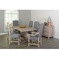 Gray and Barn Washed 7 Piece Dining Set with Upholstered Chairs - Willow Creek Collection