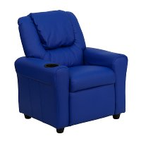 Blue Vinyl Kids Recliner with Cup Holder
