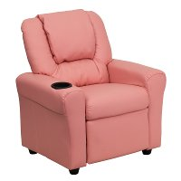 Pink Vinyl Kids Recliner with Cup Holder