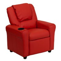 Red Vinyl Kids Recliner with Cup Holder