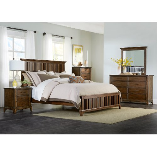 Cherry Brown Classic 6-Piece Queen Bedroom Set - Mill Creek