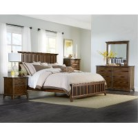 Cherry Brown Classic 4 Piece King Bedroom Set - Mill Creek