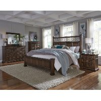 Traditional Cordovan Brown 6 Piece Queen Bedroom Set - Lucca