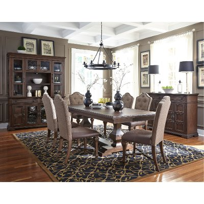 Clearance Cordovan Brown 7 Piece Dining Set   Lucca Collection