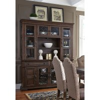 Cordovan Brown China Cabinet with Hutch - Lucca Collection