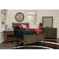 Contemporary Brown 4 Piece Twin Bedroom Set - Cottonwood Creek