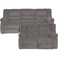 Gray Dual Reclining Sofa & Loveseat- Tulen