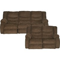 Chocolate Brown Dual Reclining Sofa & Loveseat- Tulen