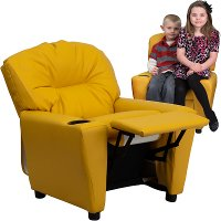 Yellow Vinyl Kids Recliner with Cup Holder