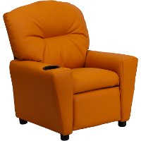 Orange Vinyl Kids Recliner with Cup Holder